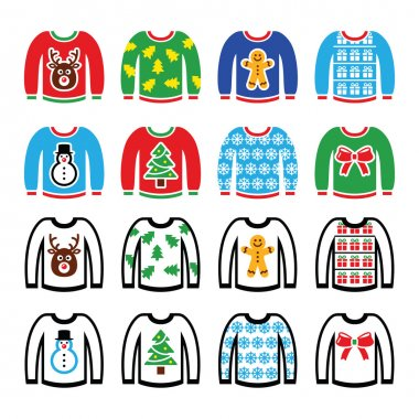 Ugly Christmas sweater on jumper icons set