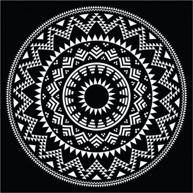 Tribal folk round Aztec geometric pattern on black