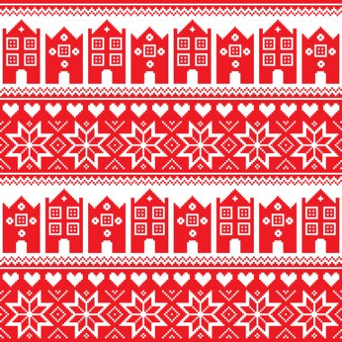 Nordic, winter seamless red pattern with houses