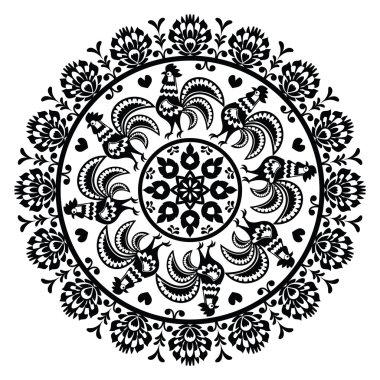 Monochrome Polish folk art pattern in circle with roosters - Wzory Lowickie, Wycinanka