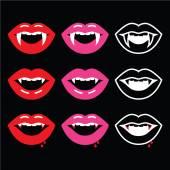 Vampir Mund, Vampir Zähne Symbole auf schwarz