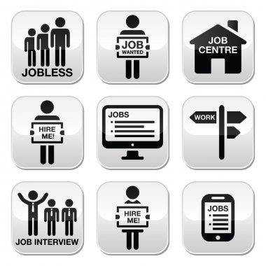 Unemployment, job searches vector buttons set