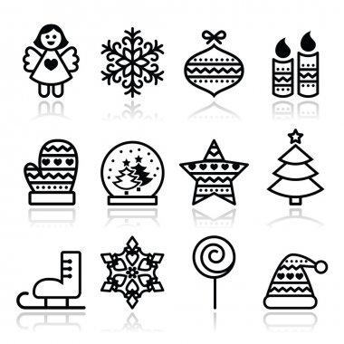 Christmas icons with stroke - Xmas tree, angel, snowflake