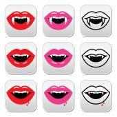 Fotografie Vampir-Mund, Vampir-Zähne-Vektor-Schaltflächen festlegen