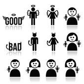 Angyal, ördög férfi és nő ikon készlet