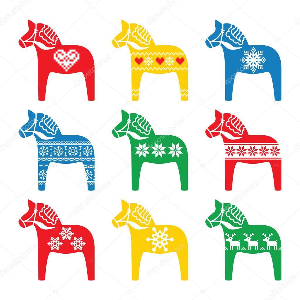 Schwedische traditionelle muster  Dala, Dalapferd mit Winter, Nordische Muster — Stockvektor #57301267