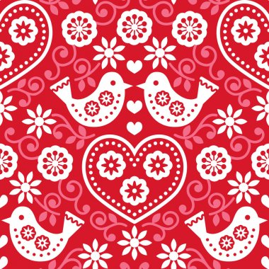 Repetitive background - white folk pattern red stock vector