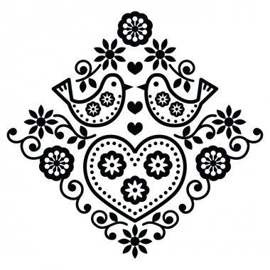 Folk monochrome design with flowers isolated on white stock vector