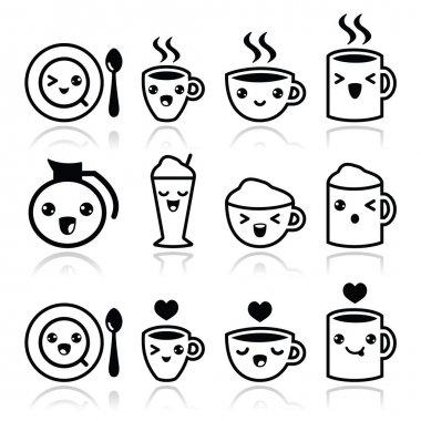 Cute coffee, cappuccino and espresso Kawaii black icon set