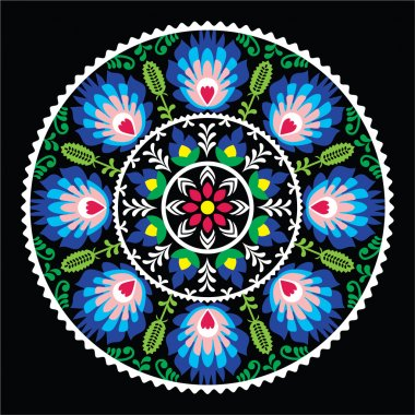 Polish traditional folk art pattern in circle - Wzory Lowickie on black