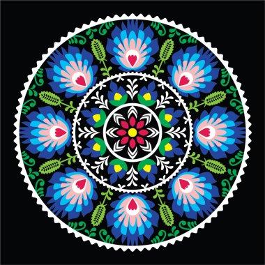 Polish traditional folk art pattern in circle - Wzory Lowickie on black