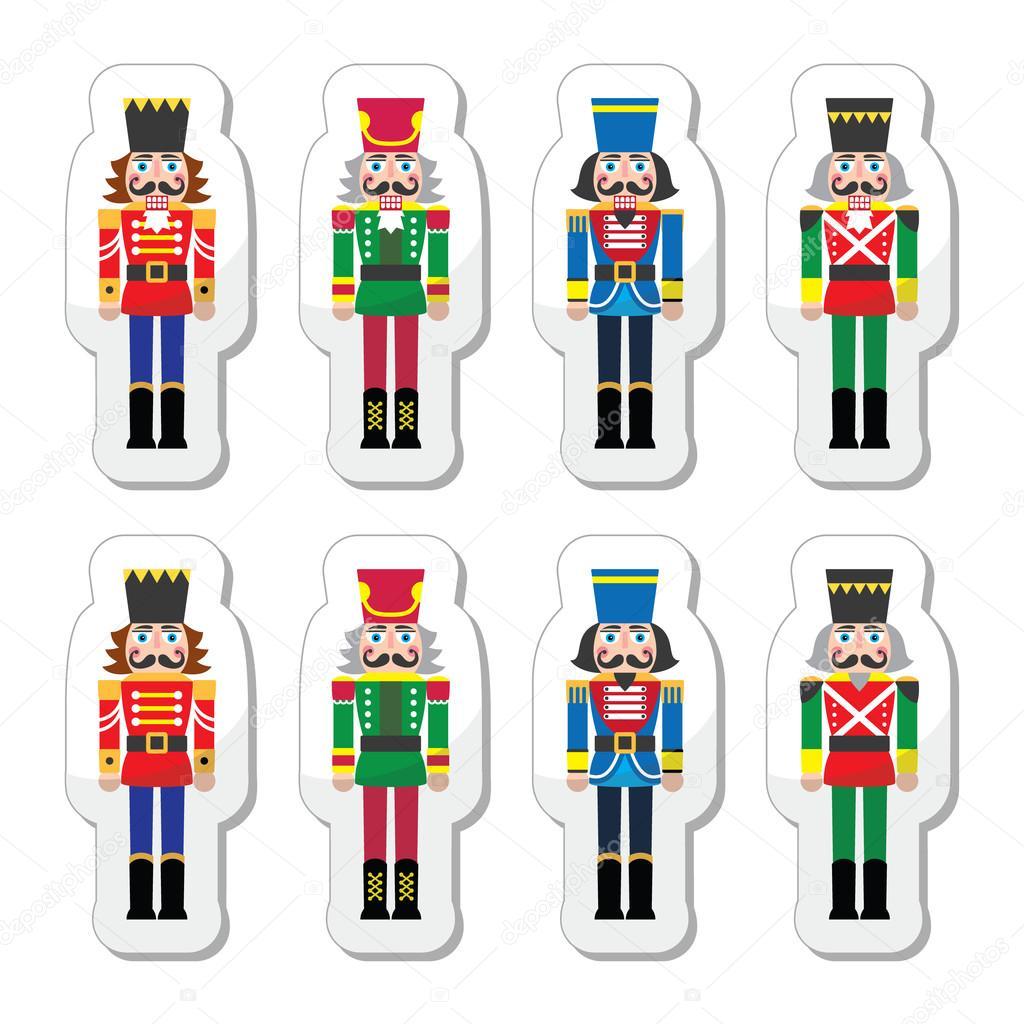 Weihnachten-Nussknacker - set Soldat Figur Symbole — Stockvektor ...