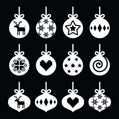 Christmas ball, Christmas bauble white icons on black