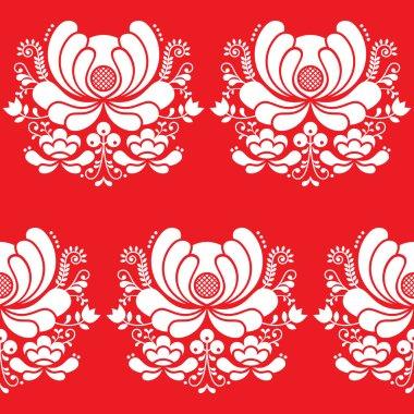 Norwegian folk art seamless white pattern on red background