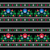 Photo Seamless Polish folk art pattern with flowers - wzory lowickie on black