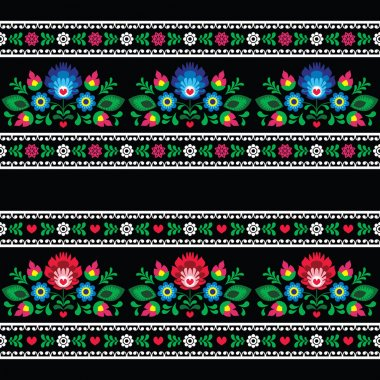 Seamless Polish folk art pattern with flowers - wzory lowickie on black