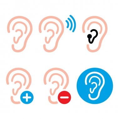 Ear hearing aid, deaf person - health problem icons set
