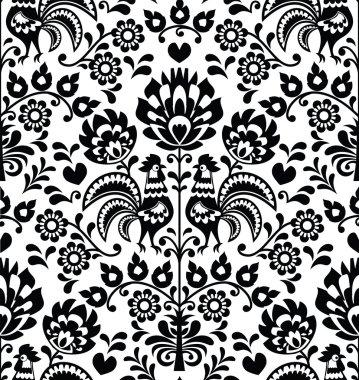 Repetitive black pattern on white background - folk art print from Poland stock vector