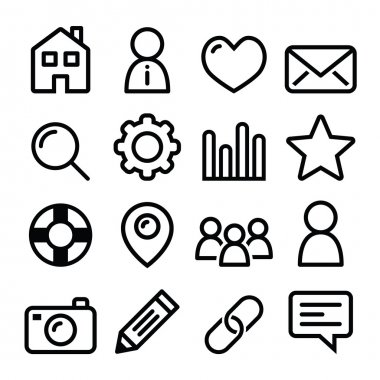 Website menu navigation line icons - home, search, email, gallery, blog