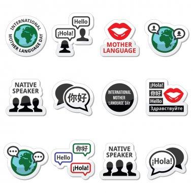 International Mother Language Day icons set