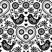 Lidového umění bezešvé jednobarevné vzor květin a ptáků