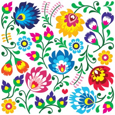 Floral Polish folk art pattern in square - Wzory Lowickie, Wycinanki