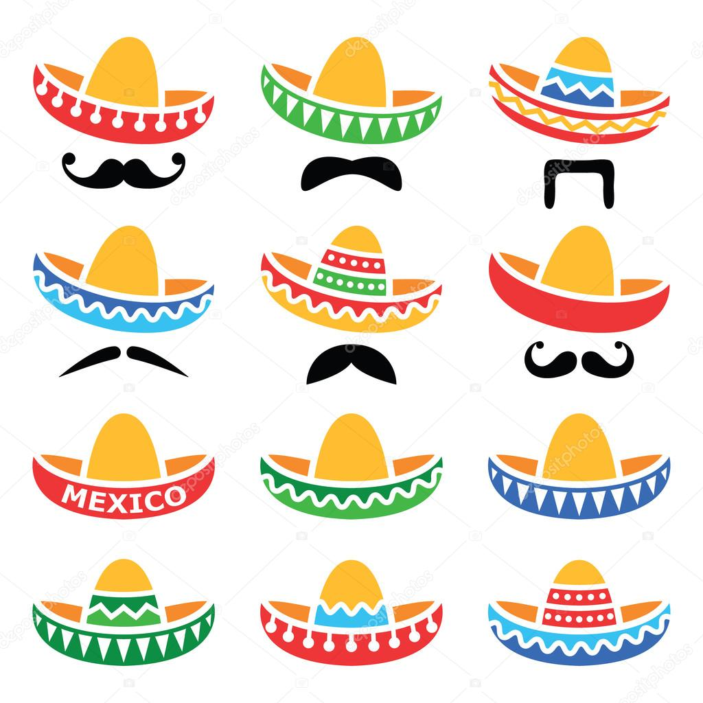 Mexican Sombrero hat with moustache or mustache icons — Stock Vector ... f637bbcc692