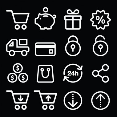 Shopping, online store white icons on black - line, stroke style