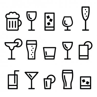 Drink alcohol beverage vector line icons set
