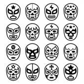 Lucha Libre mexikói birkózó maszkok - fekete vonal ikonok