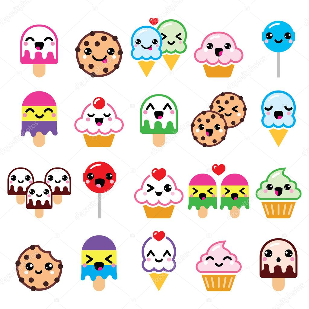 Cute Kawaii food characters - cupcake, ice-cream, cookie ...