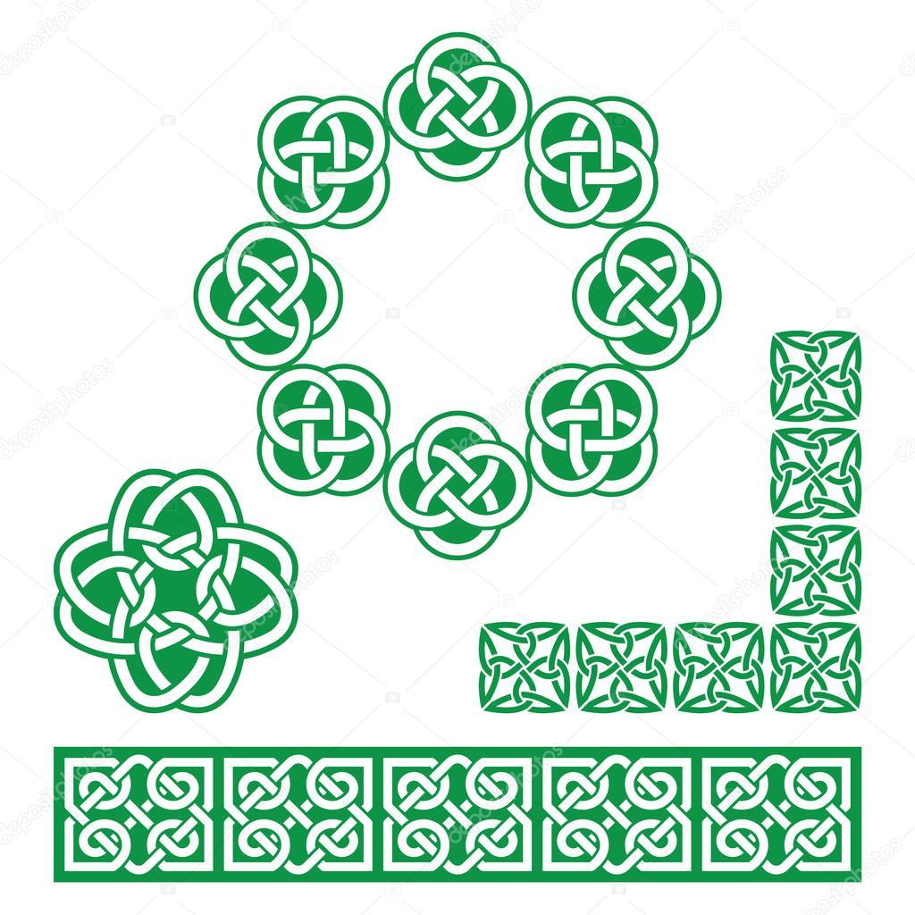 Diseño celta irlandés verde - patrones, nudos y trenzas — Vector de ...