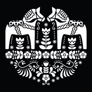 Swedish Dala or Daleclarian horse floral folk pattern on black