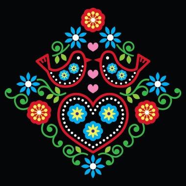 Folk art floral vector pattern on black