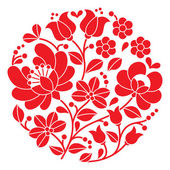 Piros kalocsai hímzés - magyar népi virágmintás kerek