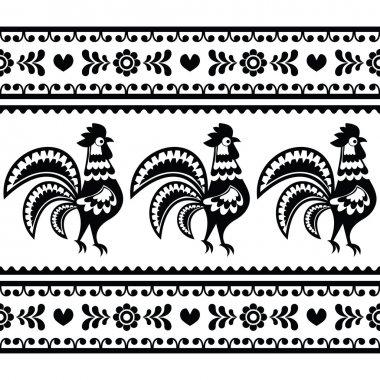 Seamless Polish monochrome folk art pattern with roosters - Wzory lowickie