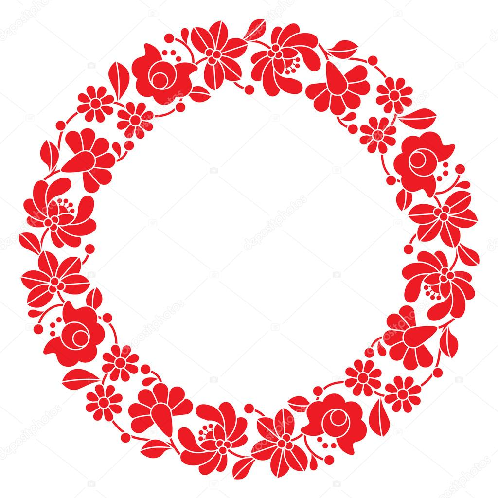 Kalocsai rojo bordado en círculo - patrón popular floral Húngaro ...