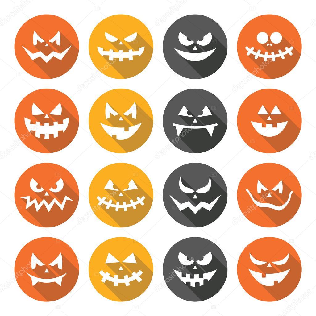 Scary Halloween pumpkin faces flat design icons set — Stock Vector ...