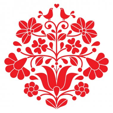Vector background - traditional pattern from Hungary isolated on white stock vector