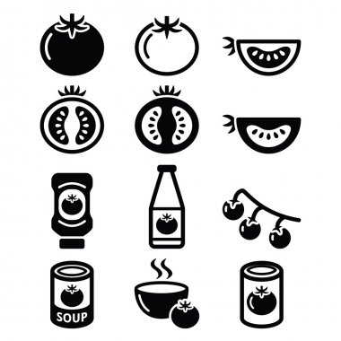Tomato, ketchup, tomato soup icons set