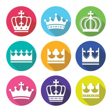 Crown, royal family flat design icons set