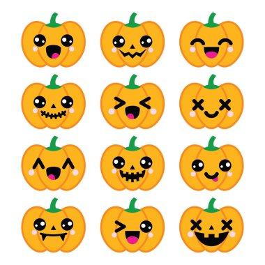 Halloween Kawaii cute pumpkin icons - vector