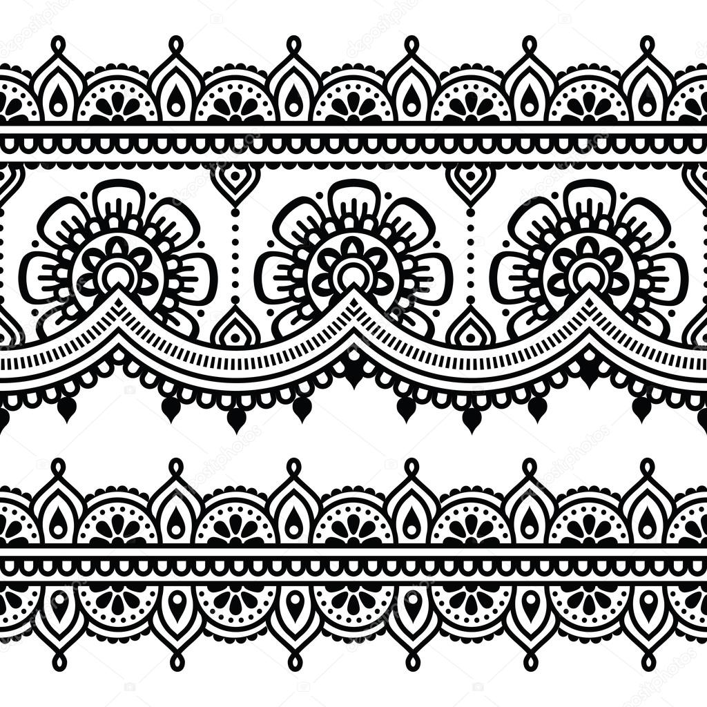 Mehndi Wzór Tatuaż Henna Indyjska Grafika Wektorowa Redkoala