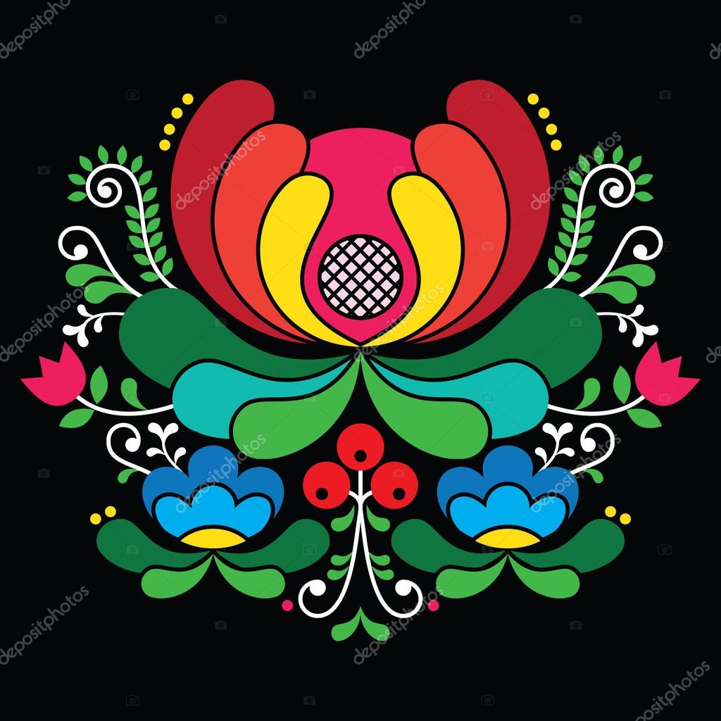 Norwegian folk art pattern - Rosemaling style embroidery on black