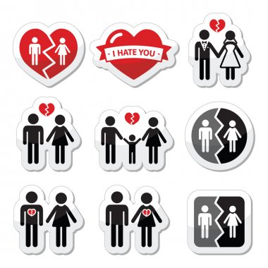 Icons set isolated on white - broken heart concept stock vector