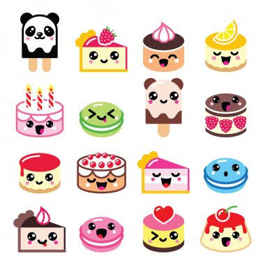 Cute Kawaii dessert - cake, macaroon, ice-cream icons