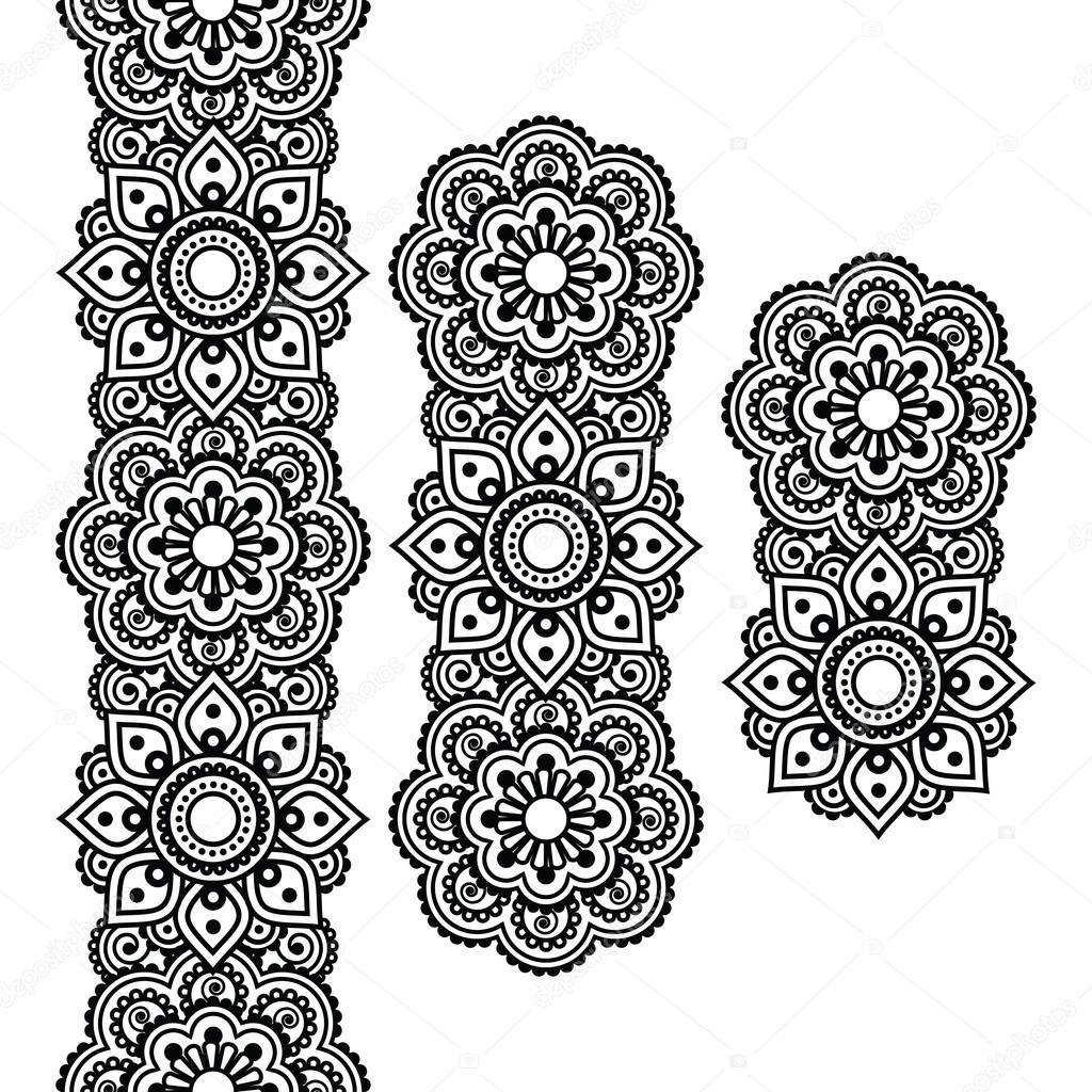 mehndi indische henna tattoo lange muster design elemente stockvektor redkoala 73840729. Black Bedroom Furniture Sets. Home Design Ideas