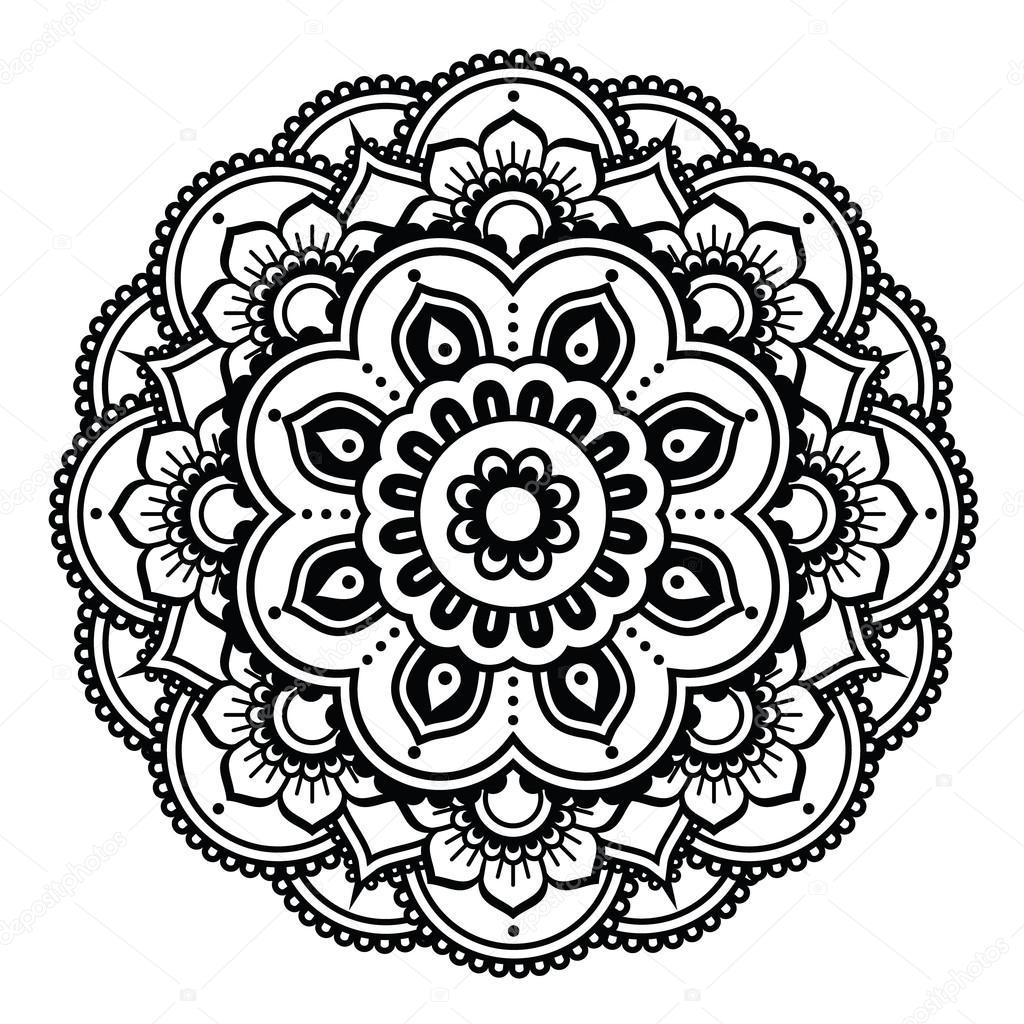 Mehndi Patterns Vector : Indian henna tattoo pattern or background mehndi design