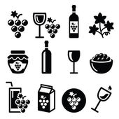 Photo Grapes, wine - food and beverages icons set