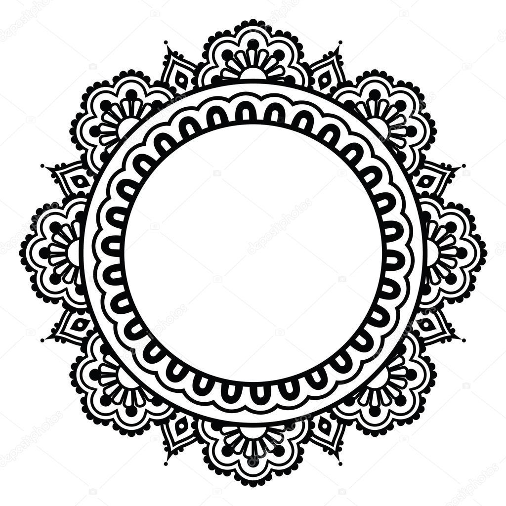 indische henna floral tattoo runde muster mehndi stockvektor redkoala 74896633. Black Bedroom Furniture Sets. Home Design Ideas